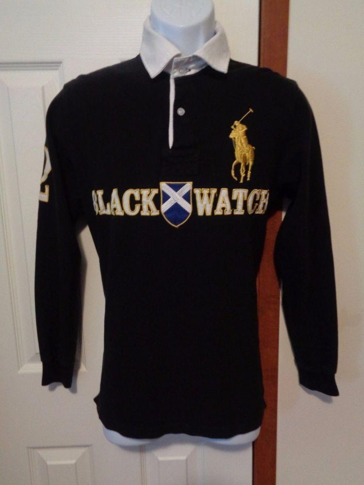 28da02b0f Polo Ralph Lauren 1996 Black Watch Polo Team Rugby Shirt Big Pony Sz M  2  Black  PoloRalphLauren  Rugby
