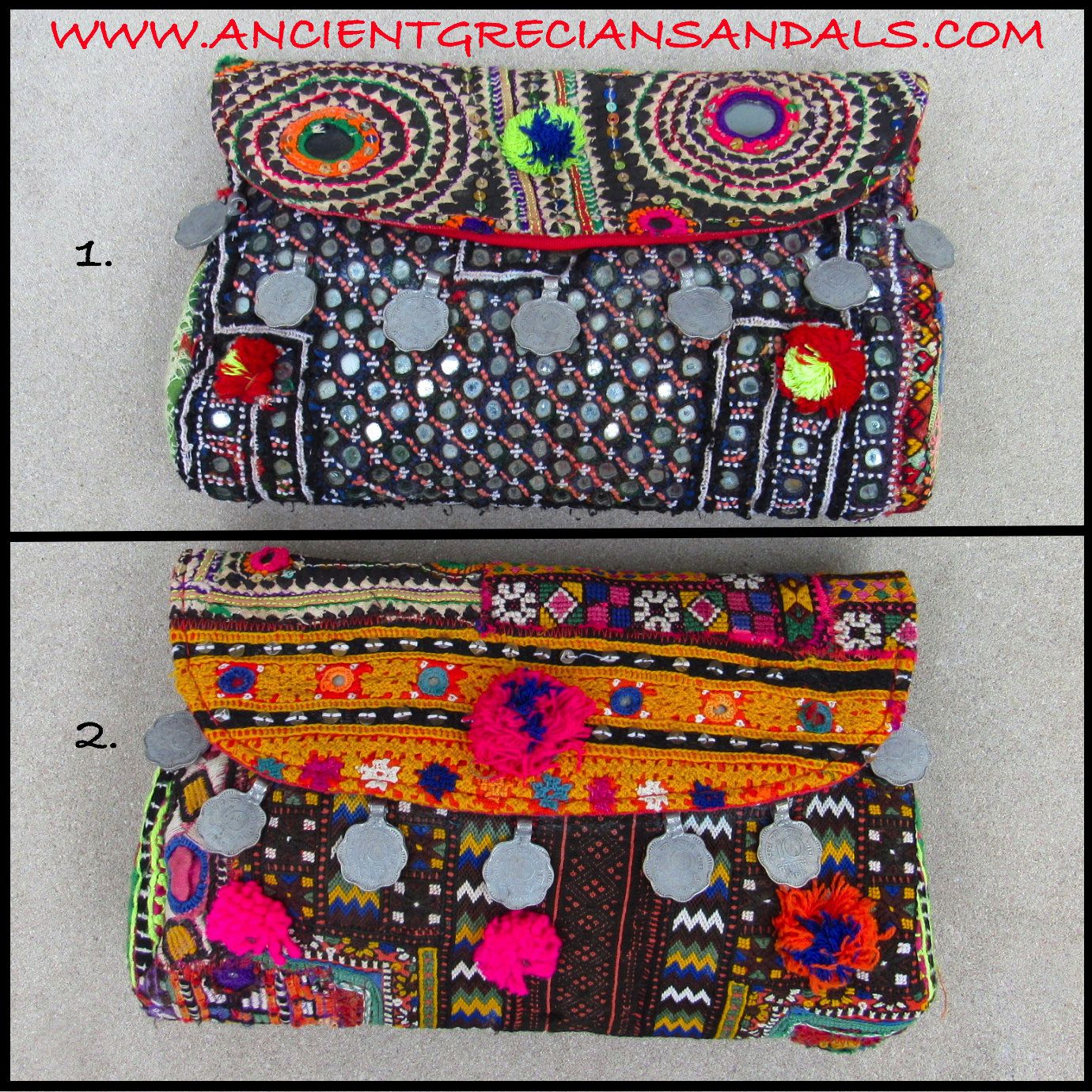 Choose from 2 stunning Vintage Banjara clutches!  Colorful Unique Indian Banjara bag with pom poms, rustic ethnic fabrics, coin charms and braided leather straps.  No 2 of these clutches are alike!  Fully lined with zipper closure!  Size : Apx. 10' x 6.5 inches 25 x 16 centimeters