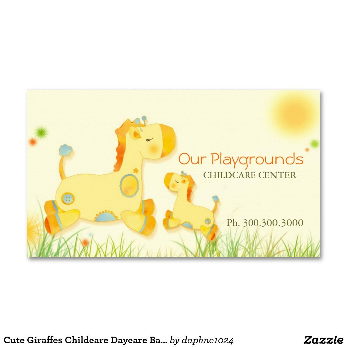 Cute Giraffes Childcare Daycare Baby Business Double-Sided Standard ...