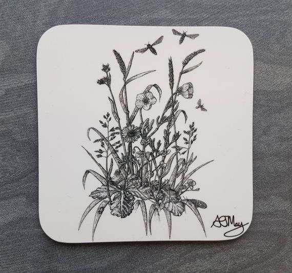 Meadow Flower Coaster, Coaster Set, Place Mat & Coaster, Black and White, Square Coaster, Gift Balcony