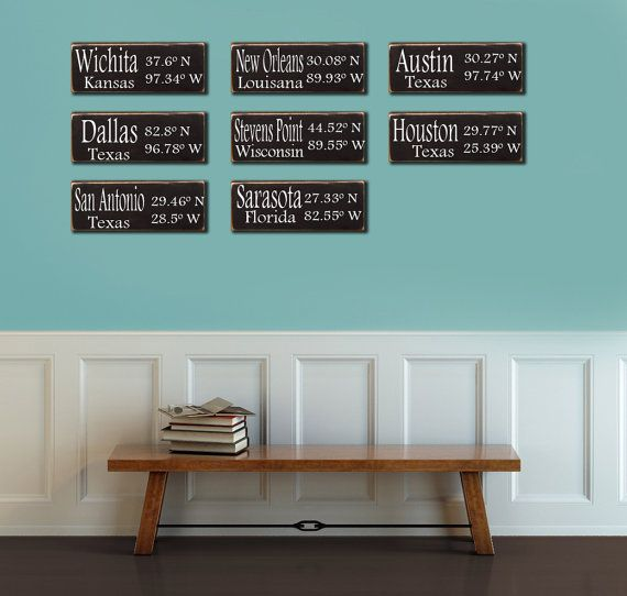 hand painted wood signs with city, latitude, and longitude ...
