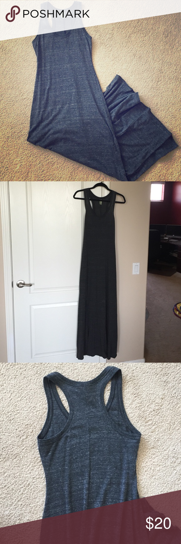 "Gray Racerback Maxi Dress Beautiful Gray Maxi Skirt with Racerback & rolled edges. Great condition!!! From top of shoulder to bottom of dress, approximately 59"". Alternative Earth Dresses Maxi"