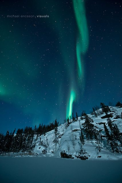Aurora from Vee Lake, Northwest Territories, Canada.
