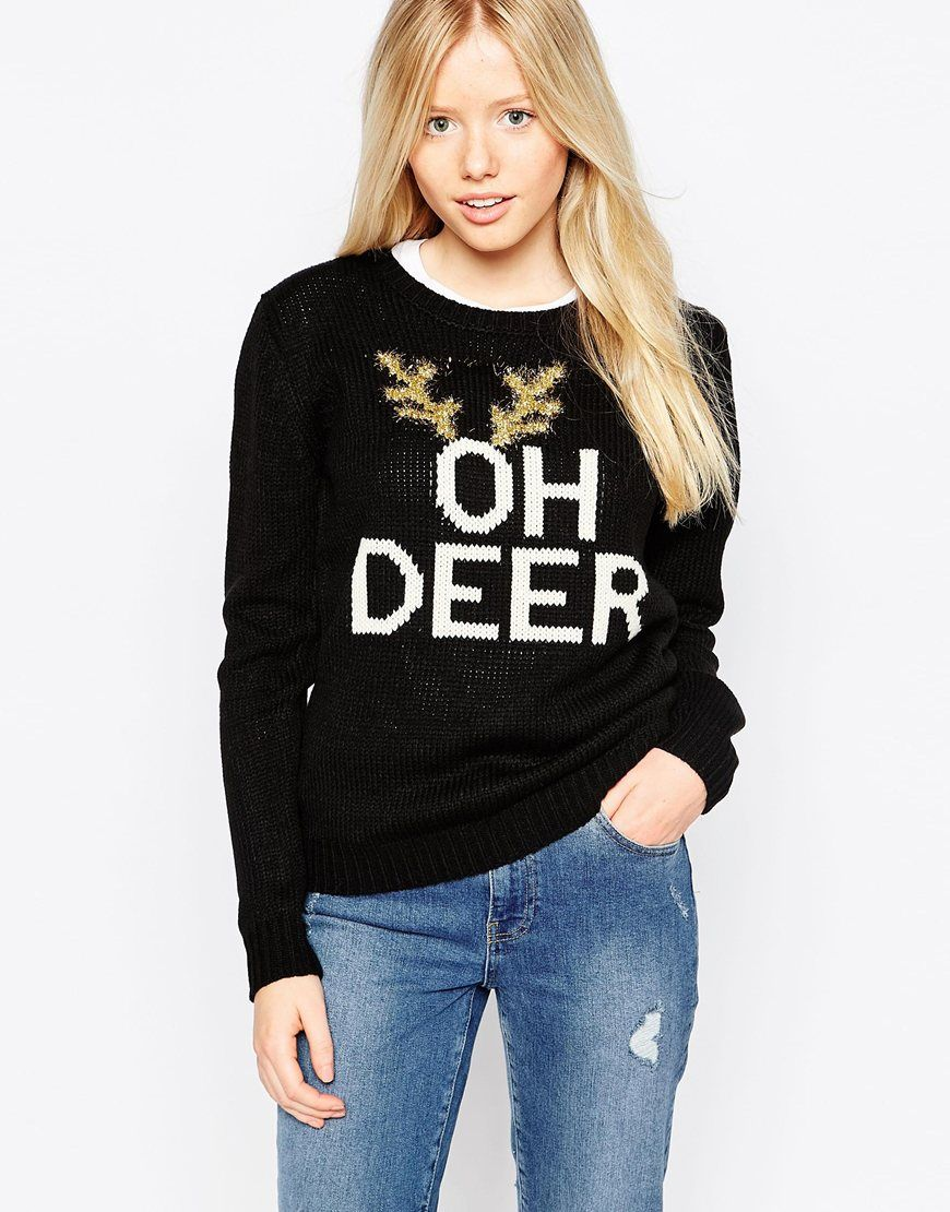 Image 1 of Brave Soul Oh Deer Holidays Sweater Xmas