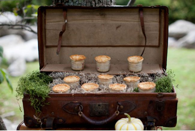 pies in a jar and vintage suitcases