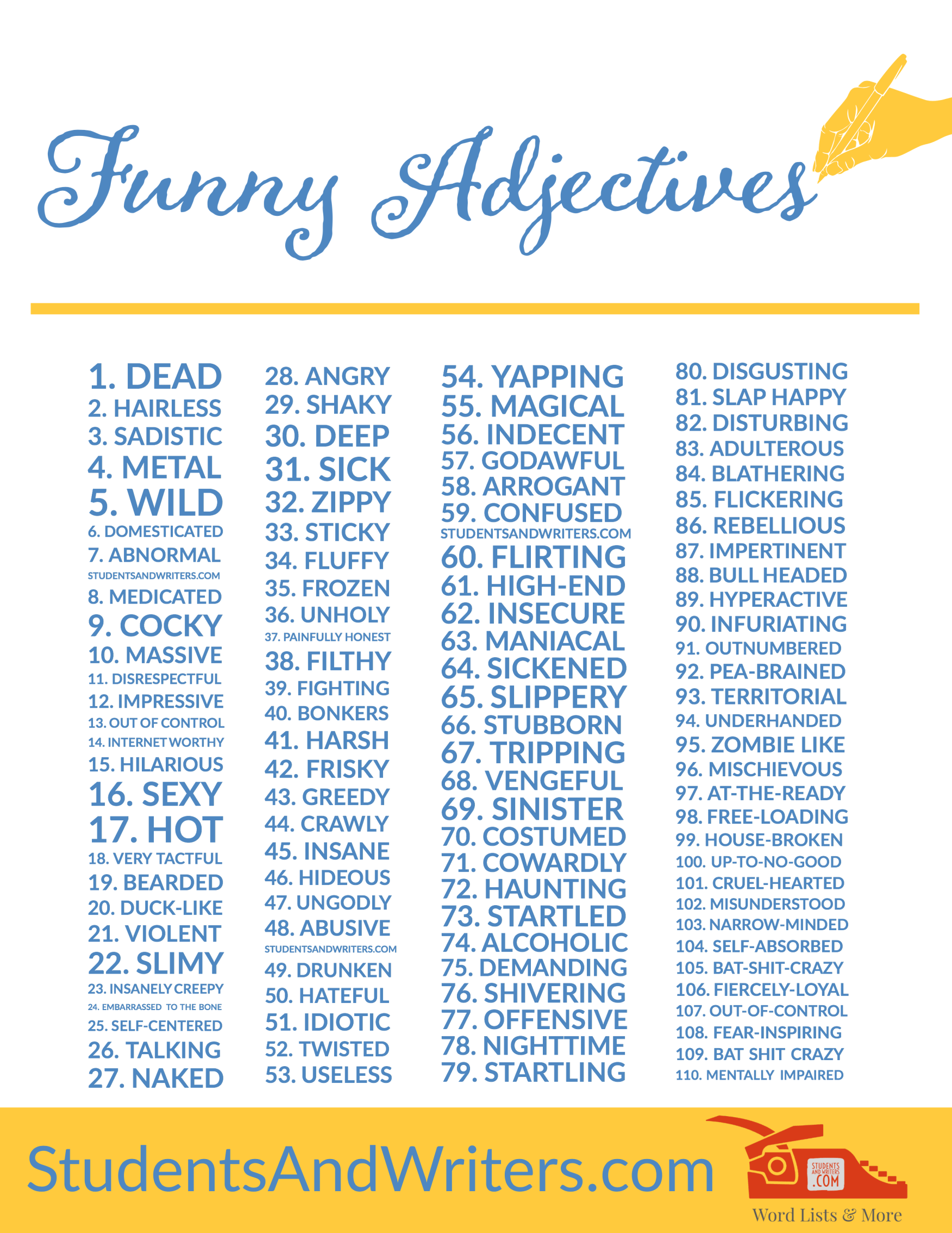 Funny Mad Libs Word Lists Adjectives Nouns And Verbs