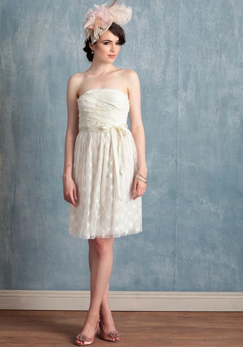Maybe a short, playful dress like this but w a halter? | Wedding ...