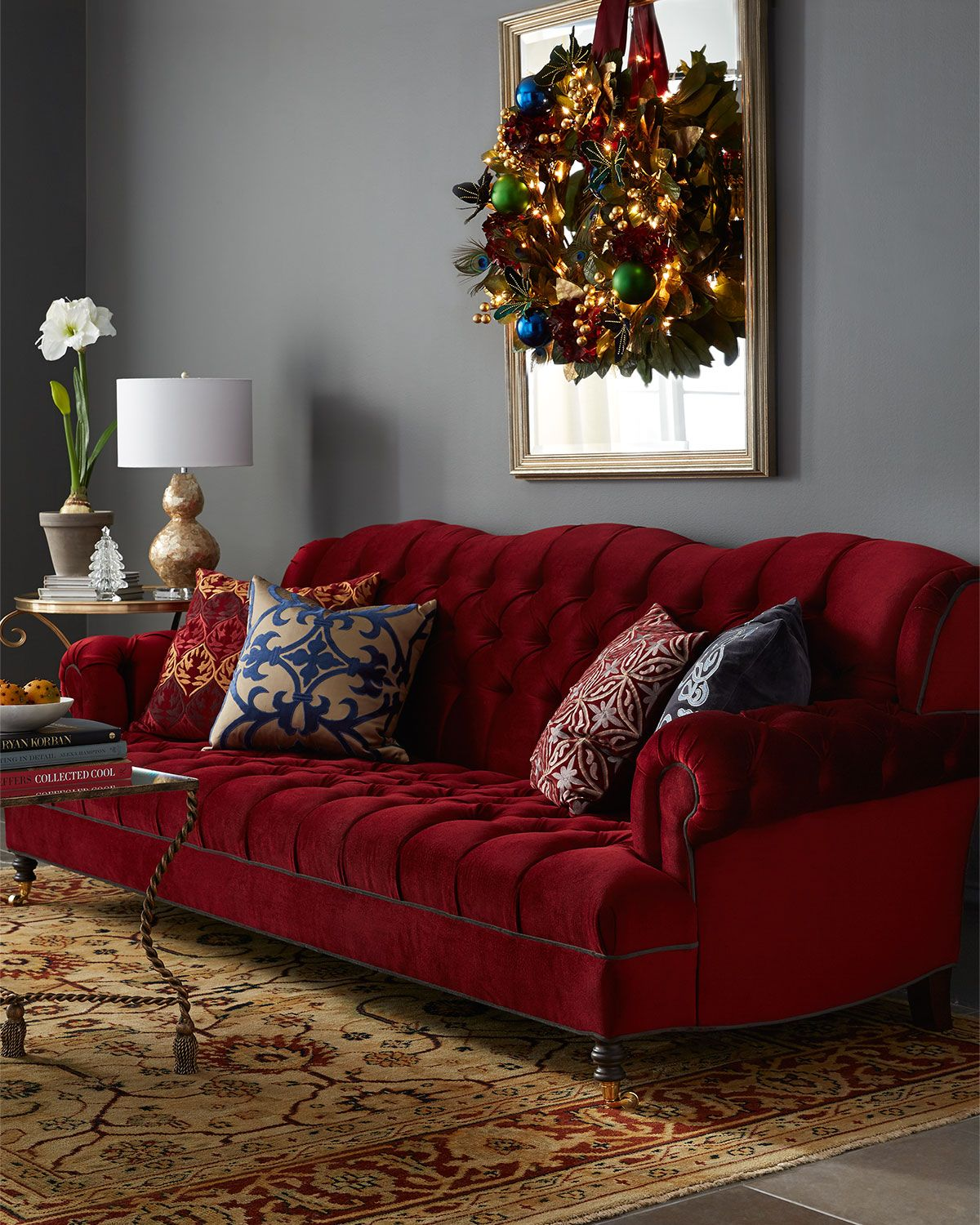 Maroon Grey And White Living Room: Haute House Mr. Smith Cranberry Sofa