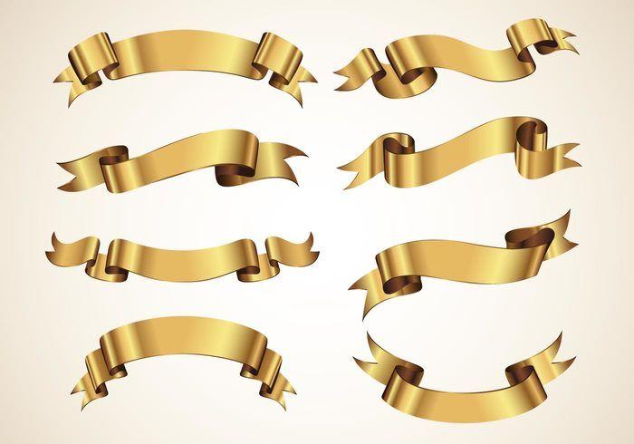 Cintas del vector de oro decorativo Set   Marcos y ornamentos ...