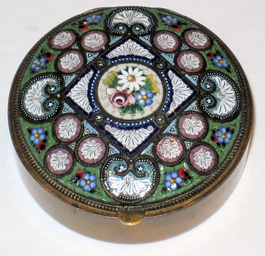 Antique Italian Micromosaic Ladies Compact
