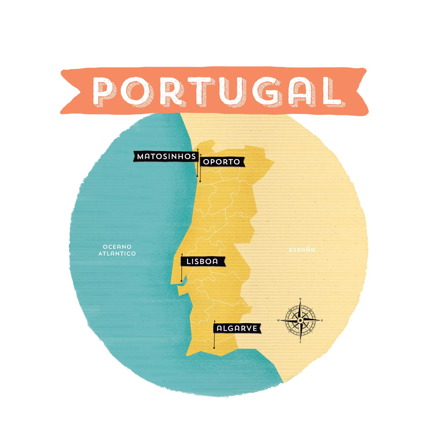 Portugal illustrated map for Mr Wonderful Travel illustration www