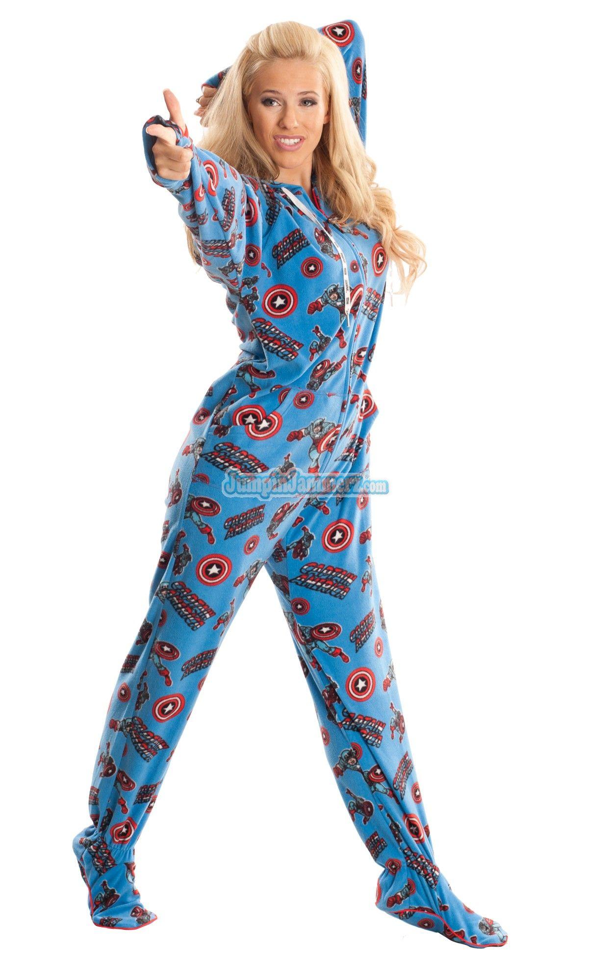36fb6fbd17 Captain America - Marvel Comics - Pajamas Footie PJs Onesies One Piece Adult  Pajamas. I NEED THIS.
