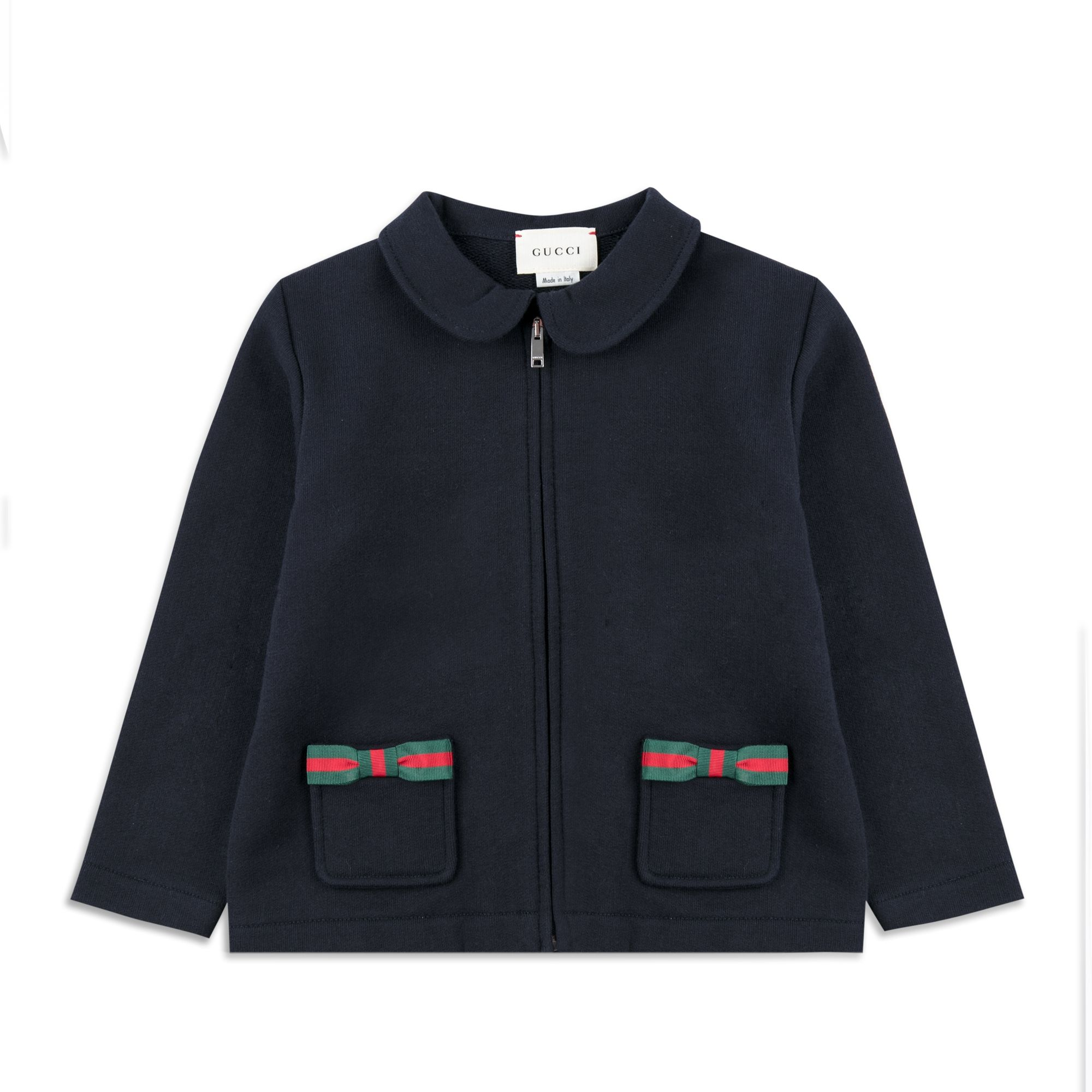 a621e8aed5c50f GUCCI Baby Girls Bow Zip Up Top - Navy Girls jersey sweat • Soft stretchy  cotton • Full zip fastening • Peter-Pan collar • Two front pockets • Web  trim bows ...