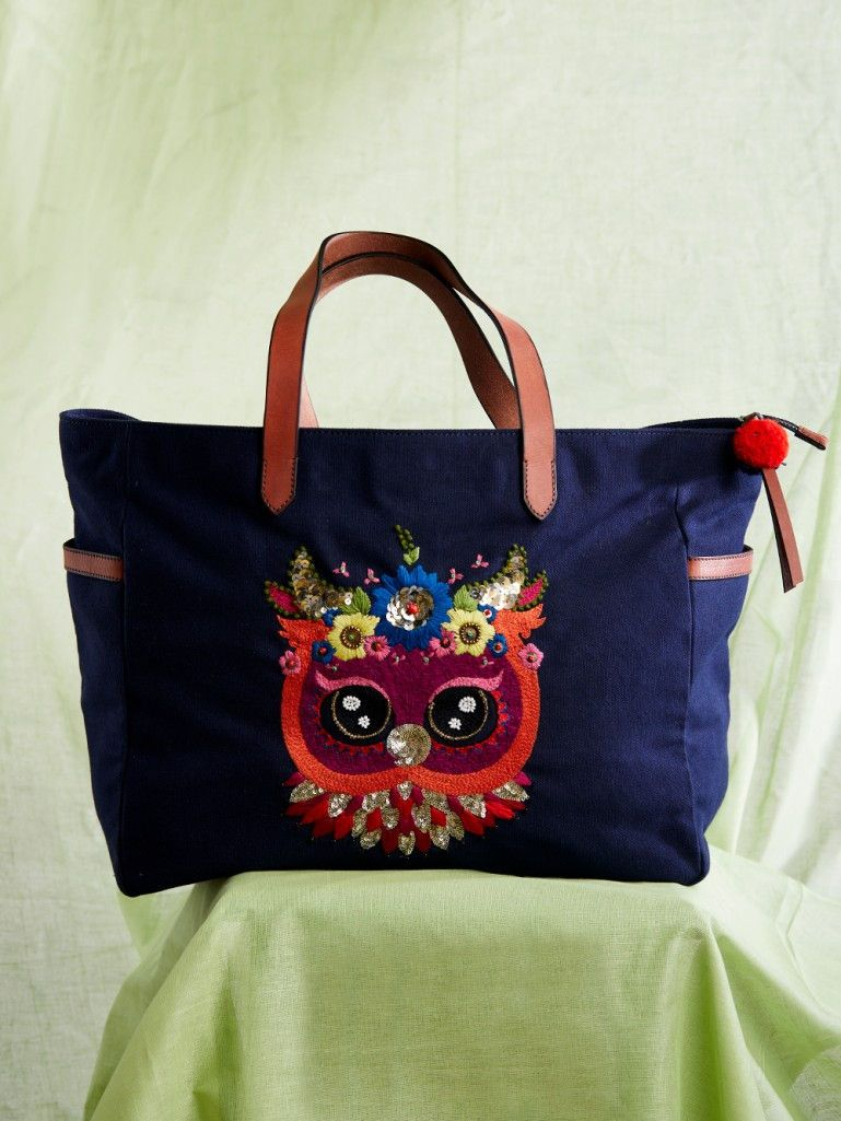deab4228075 Navy Blue Hand Embroidered Owl Canvas Tote Bag   Bags n clutches ...
