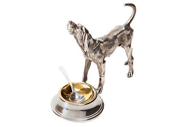 Silver Plated Hound Dog Salt Cellar On Onekingslane Com