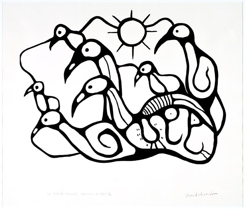 Norval Morrisseau Canadian Ojibway 1932 2007 We Must Be Child Like Simplicity Of Spirit Silkscreen On Paper Visual Art Lessons Native Art Art