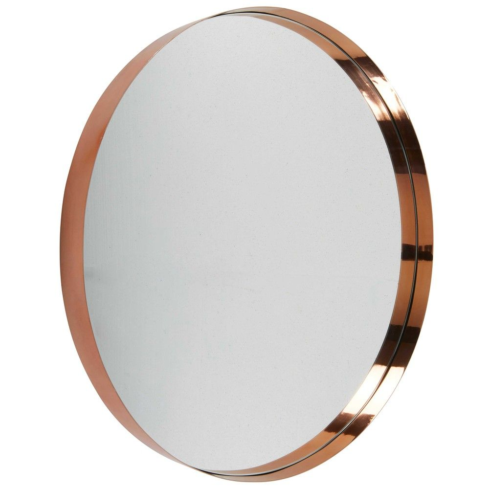 Emmy Round Copper Coloured Metal Mirror Diameter 90cm Large Round Wall Mirror Round Wall Mirror Metal Mirror