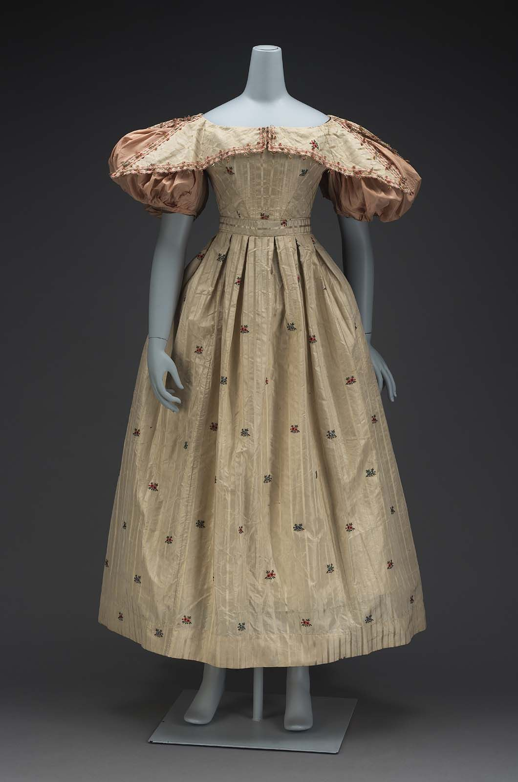 1830, A dress, made of 18th century Spitalfields brocade, wide ...