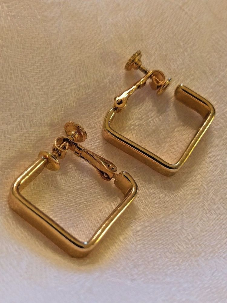 a4f3829bd Napier Gold Tone Square Hoop Hoops Dangle Clip On Earrings Geometric #Napier  #Hoop