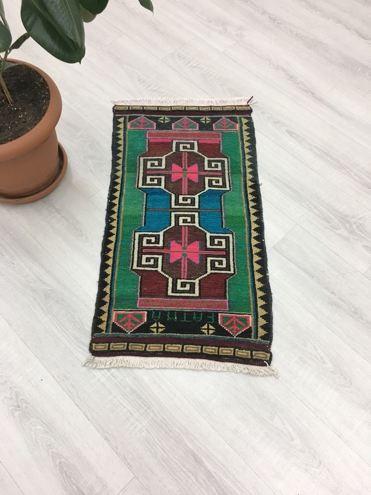 Small Rug Vintage Fashion Jungalow Style Turkish Bath Mat Door 1 5x2 9