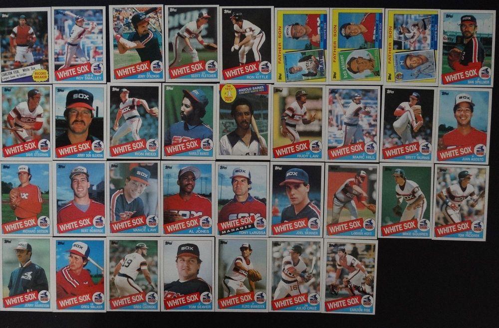 1985 topps chicago white sox team set of 34 baseball cards