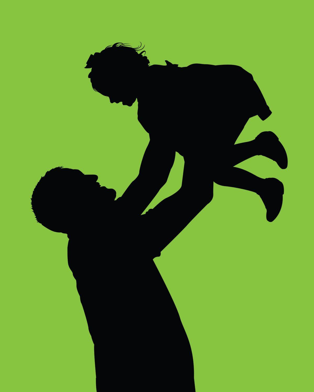 Día silueta retrato impresión papá hija retrato silueta por iillume