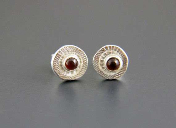 Silver and garnet stud earrings by mumijumi on Etsy