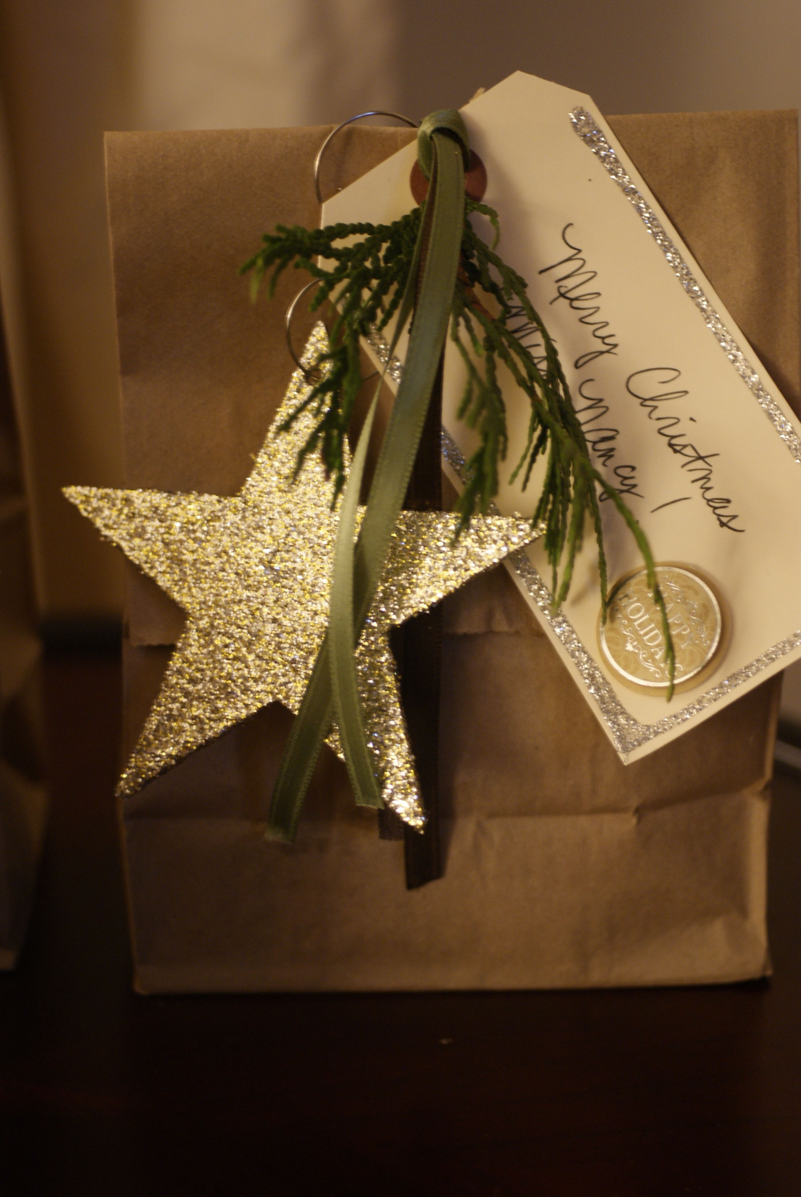 Christmas Gifting Plain brown paper bags, $1 glitter ornaments ...