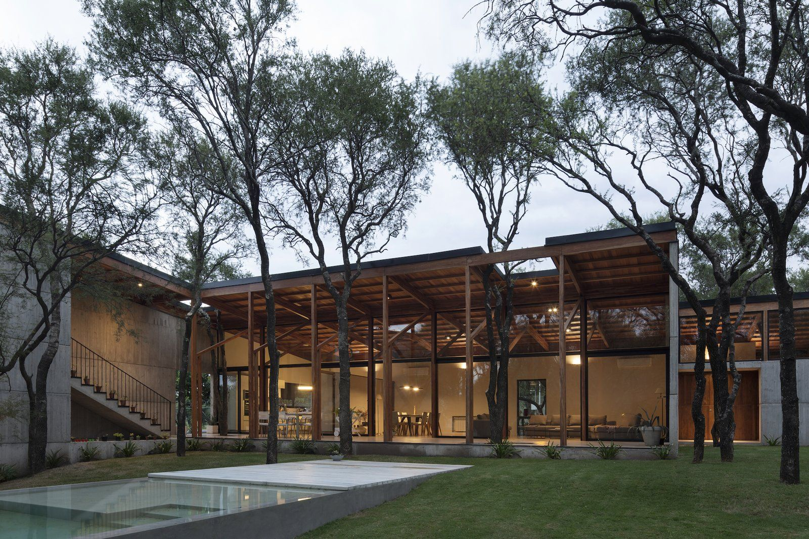 Photo 1 Of 17 In Native Trees Punch Through The Roof Of This Concrete In 2020 Roof Design House Roof Design Roof Architecture