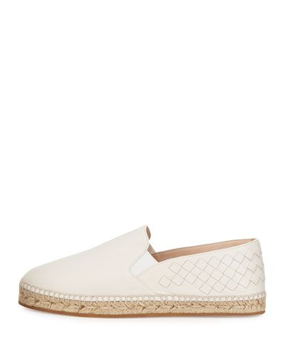 BOTTEGA VENETA INTRECCIATO LEATHER ESPADRILLE FLAT. #bottegaveneta #shoes #flats