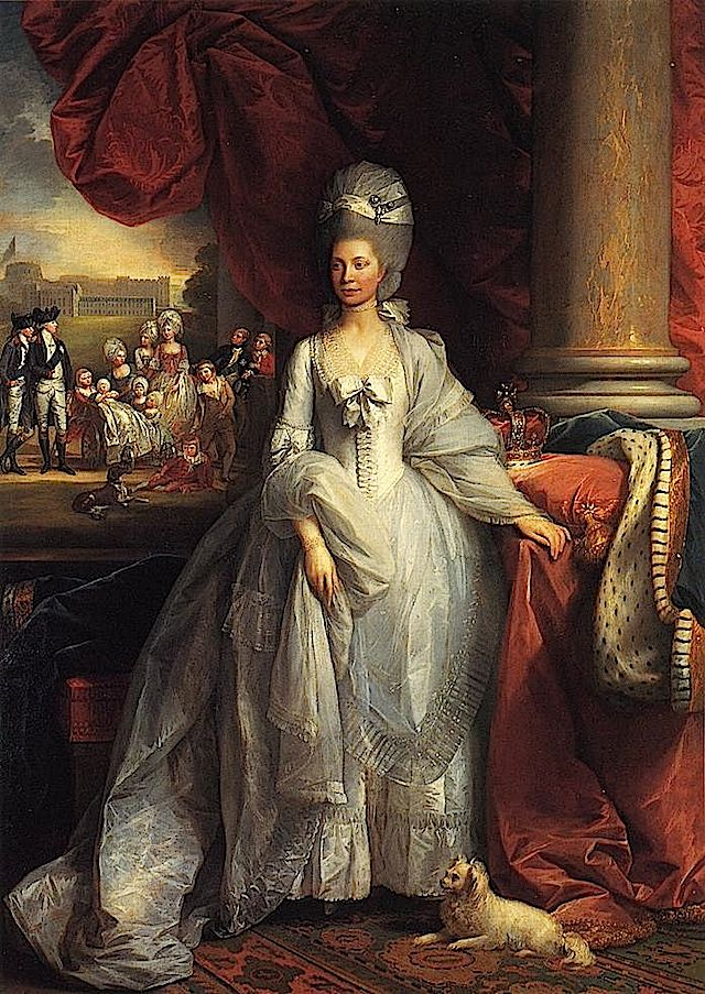 Cloth bands were used to ornament the high coiffures of the day as seen in this 1779 West portrait of Queen Charlotte