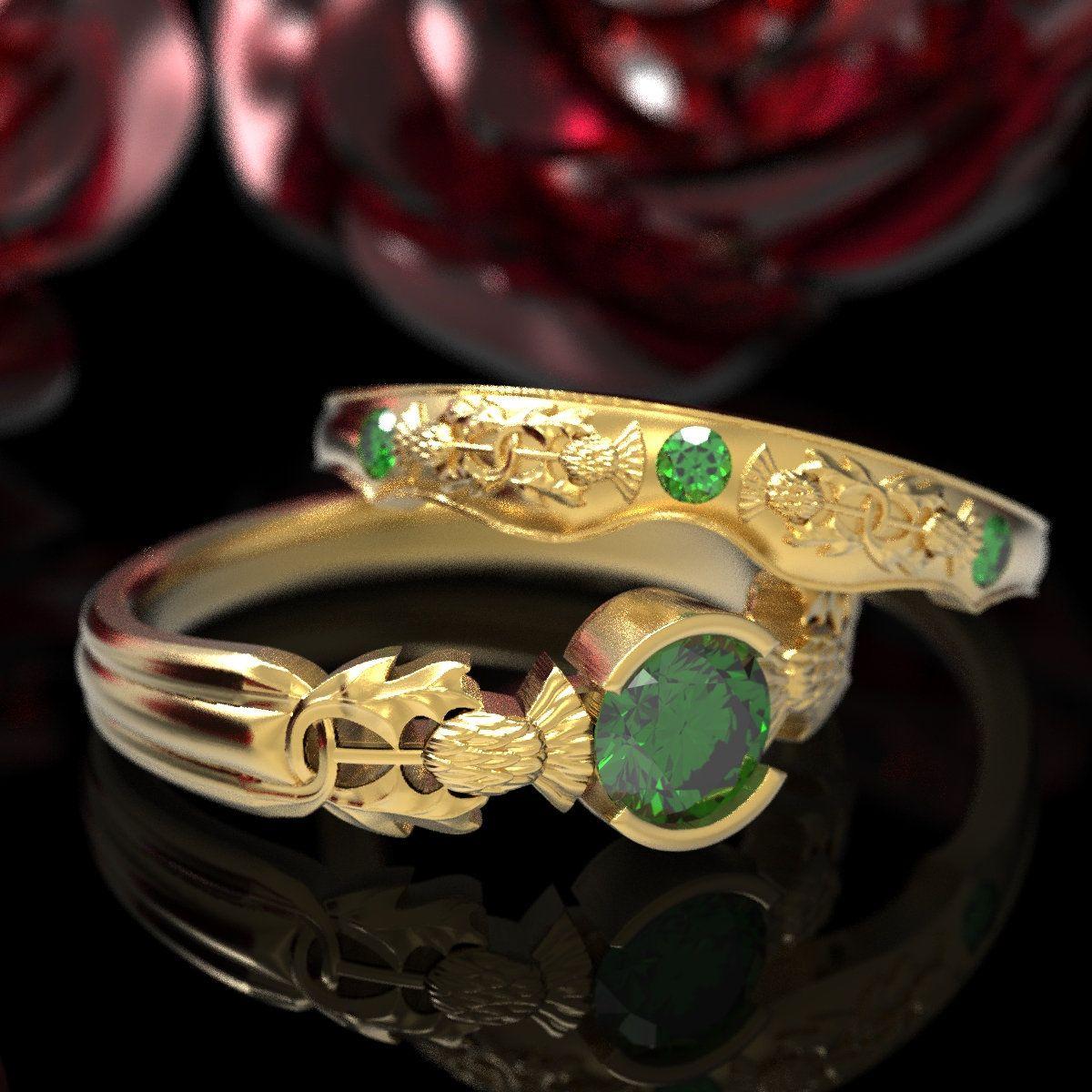 Thistle Engagement Ring Set, 10K 14K or 18K Gold Emerald