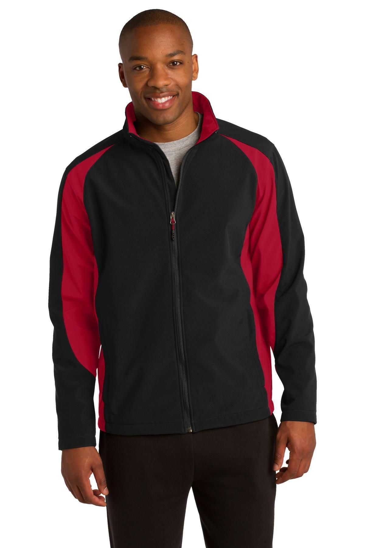 SportTek Colorblock Soft Shell Jacket. ST970 Black/ True