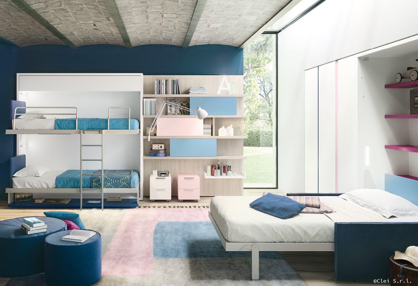 La camera per bambini ?? composta da: scrivania che diventa un letto ...