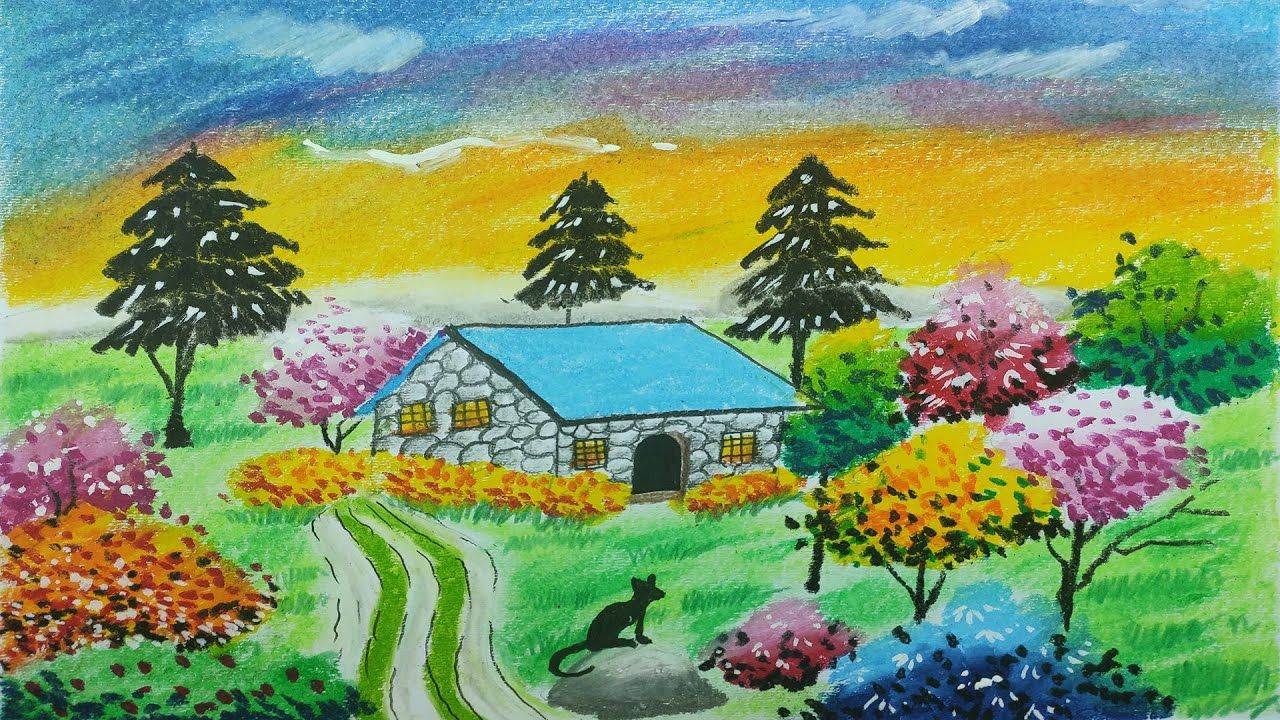 How To Draw Sweet Home Garden Scenery With Oil Pastels In 2020 Drawings Drawing For Kids Drawing Lessons For Kids