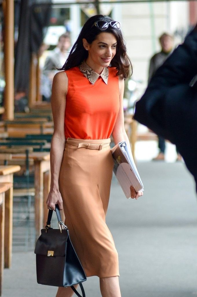 0866725eb14c Human rights lawyer and George Clooney s wife Amal Alamuddin is seen  leaving Morandi in New York