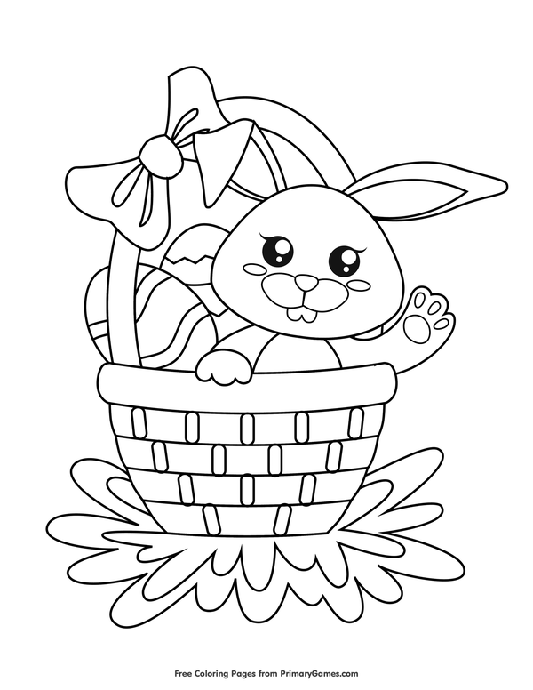 Easter Coloring Pages Ebook Easter Basket With Eggs And Bunny