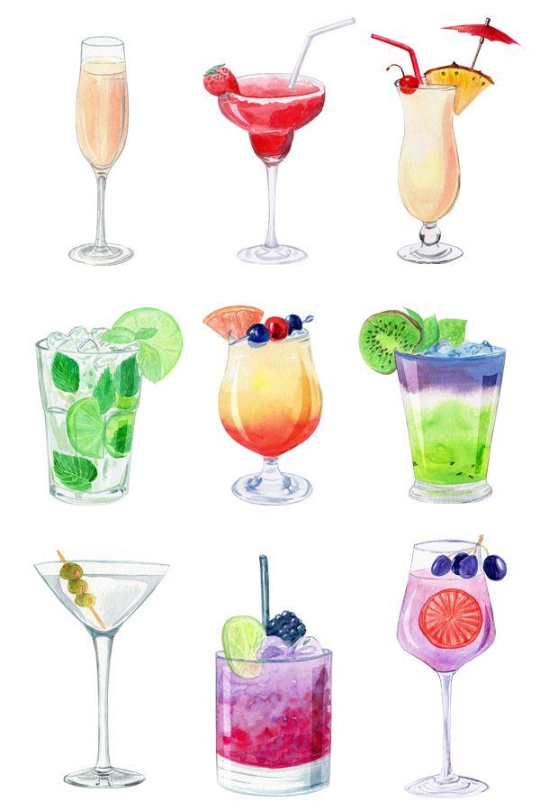 Fruit summer alcohol cocktails clipart