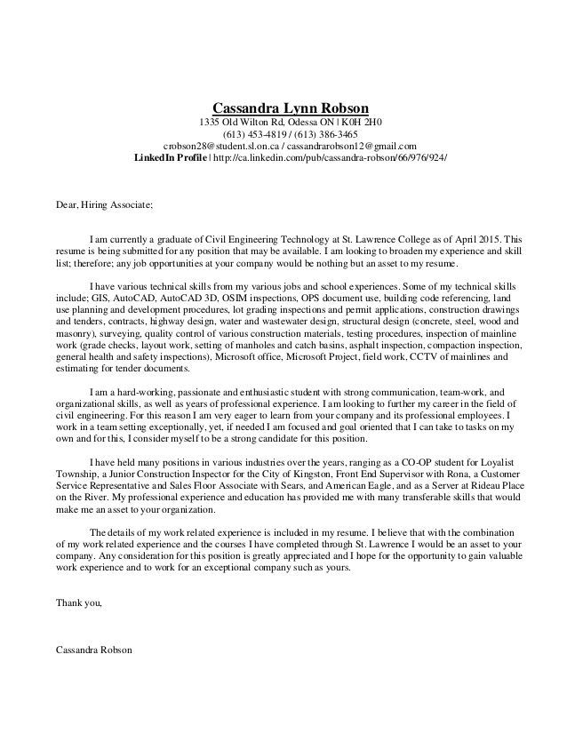 cassandra lynn robson old wilton odessa civil engineer example - engineering cover letters