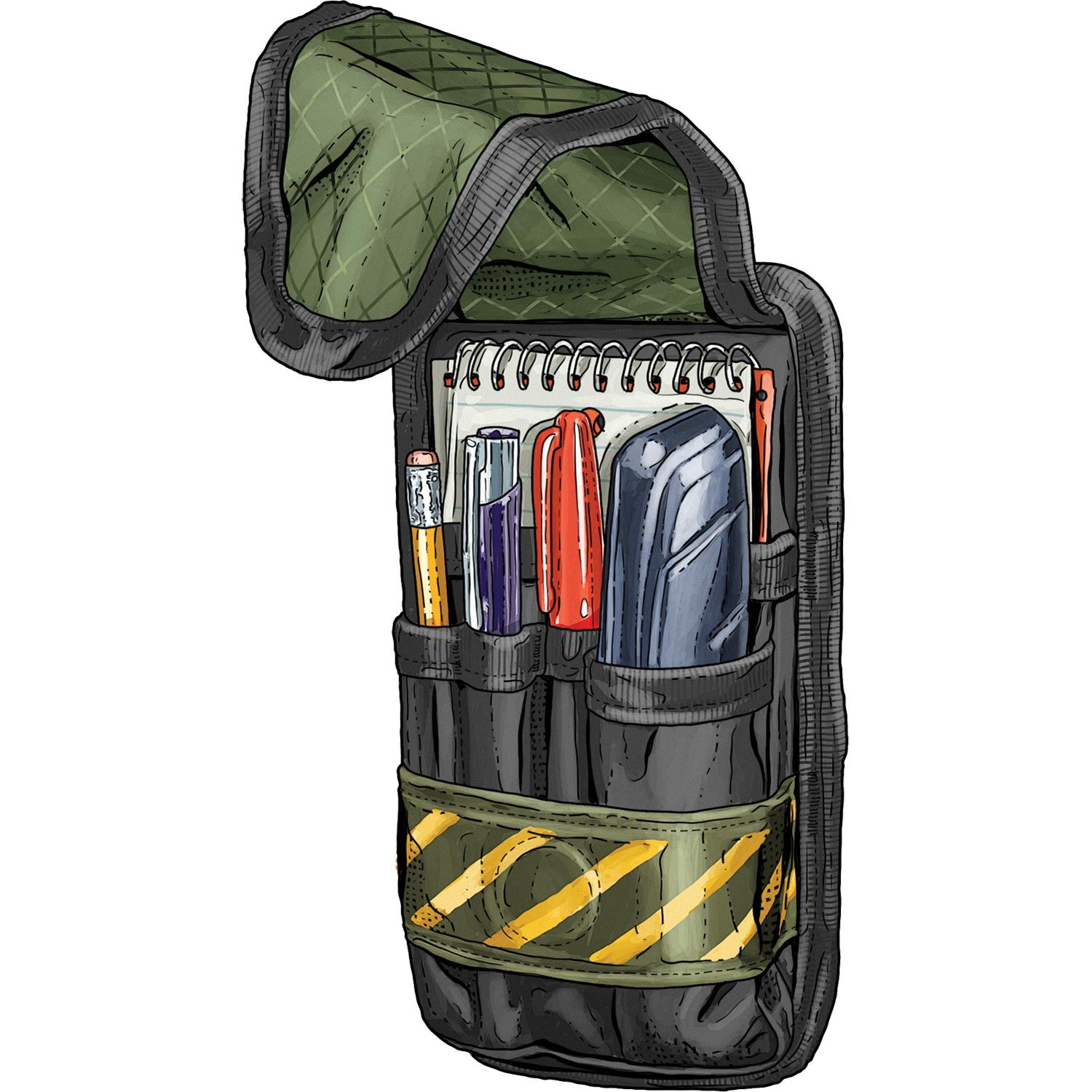 With space for a utility knife, marker, spiral pad and small complement of tools, the Warehouse Pouch from Duluth Trading lets you carry essentials as you keep your hands free.