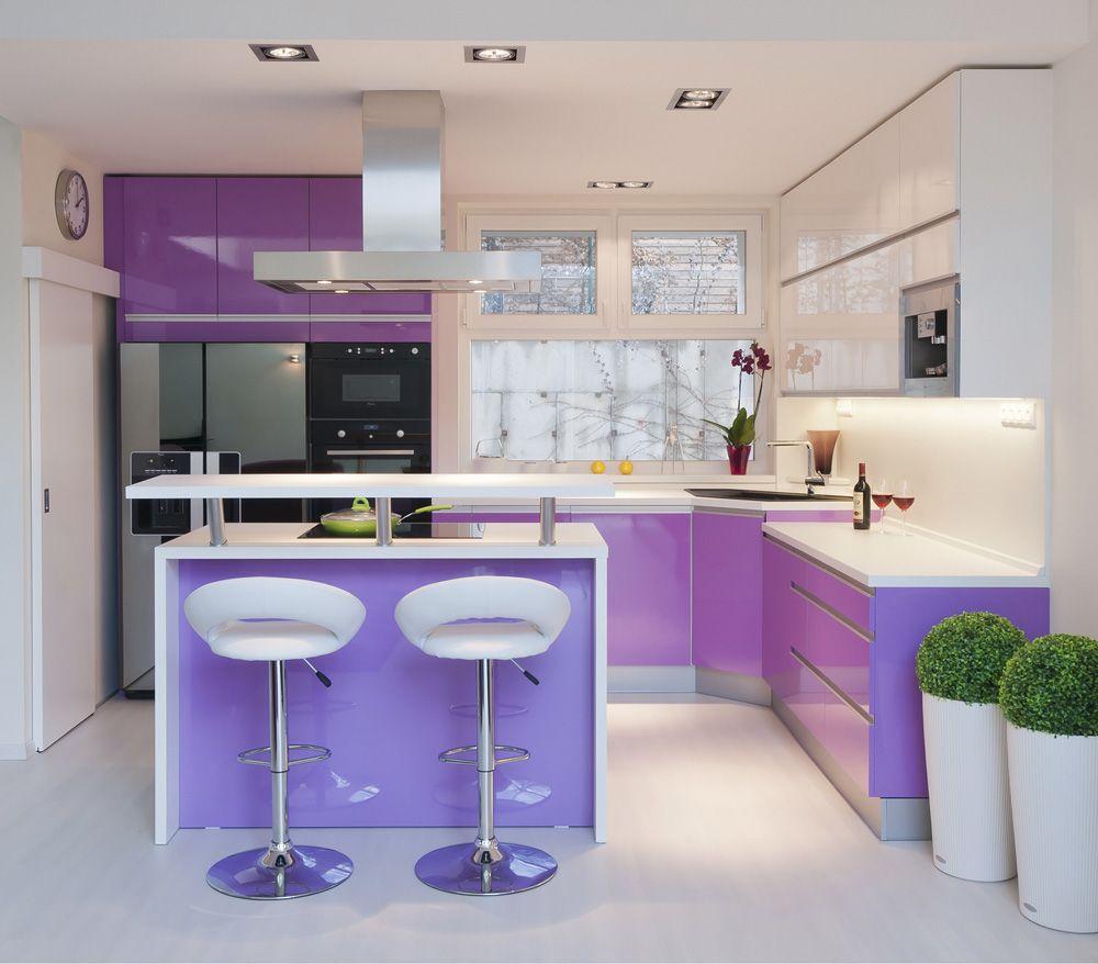 Cuisine Moderne Couleur Violet color code: radiant orchid | projetos de cozinhas pequenas