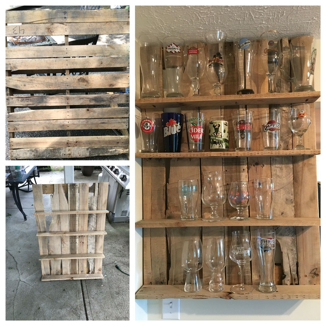 Beer Glass Shelf Made Out Of Pallet Wood In 2019 Glass