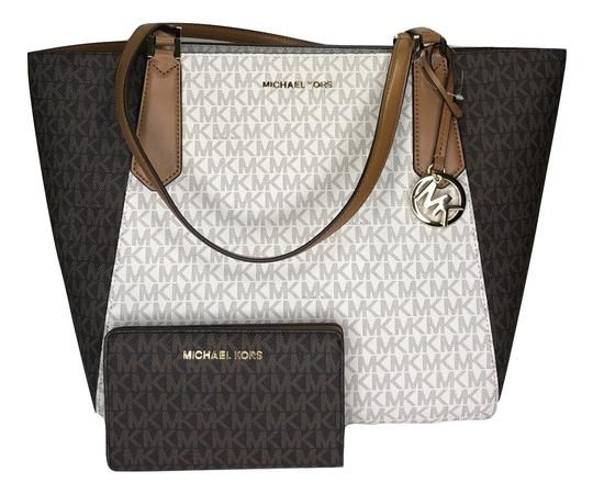 c0566a7d092e Save big on the Michael Kors Kimberly Large Bonded and Matching Bifold  Wallet Signature Mk Brown/Vanilla/Acorn Leather Satchel!