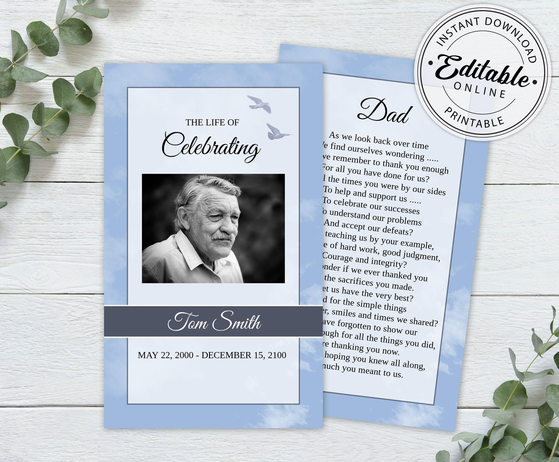 Editable Funeral Prayer Card Template Printable Memorial Etsy Prayer Cards Card Template Funeral Program Template