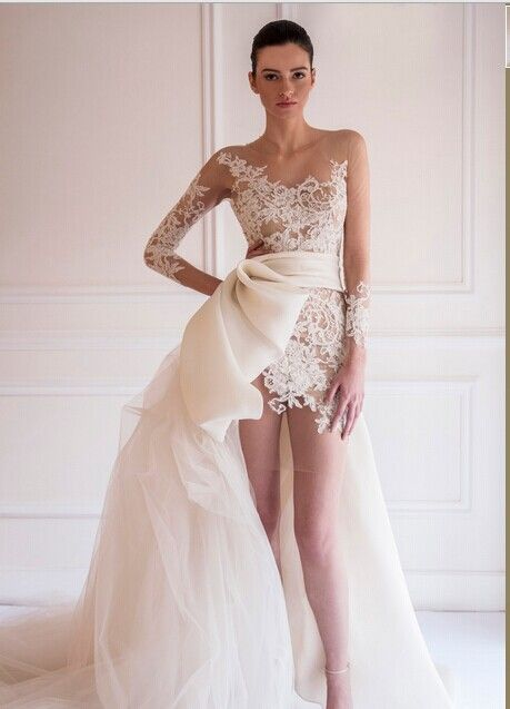 Find More Wedding Dresses Information about Robe de mariage Front Short Back Long Long Sleeve Bow Wedding Dress 2015 Bridal Gowns See Though Vestido de noiva ,High Quality Wedding Dresses from Romantic bride wedding dress Suzhou Co., Ltd. on Aliexpress.com