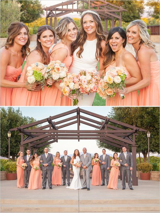 Coral Bridesmaids with grey suited men