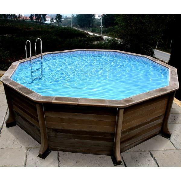 Piscine en béton aspect bois Diam 4,95x1,30m NATURALIS 1 - Kit - piscine hors sol beton aspect bois