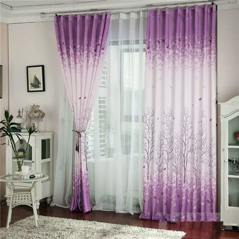 Modern Bedroom Curtain Window Shade Printed Tree Pattern
