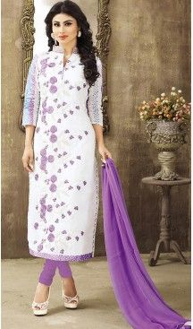 b29fdaa377 Casual Wear salwar kameez. Off White Color Cotton Straight Cut Style  Stitched ...