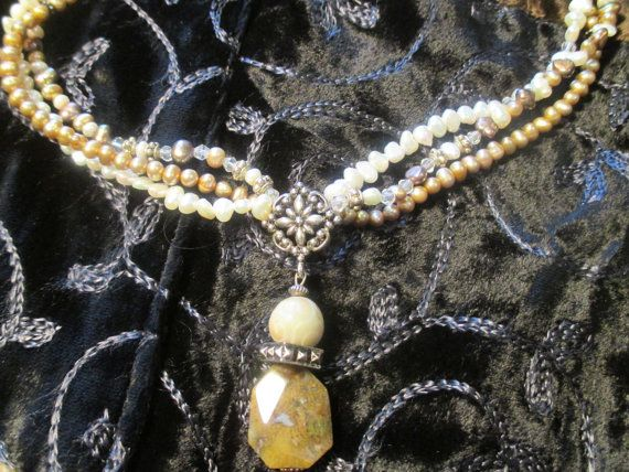 Pearl.  3strand freshwater pearl necklace. by StoneworksByJan, $35.00